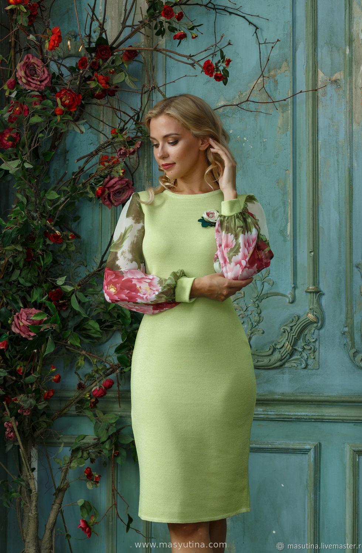 """Платье """"Лесной цветок"""" светлая зелень"""